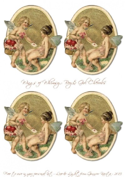 Wings of Whimsy: Boy & Girl Cherub Tags - free for personal use #vintage #ephemera #printable