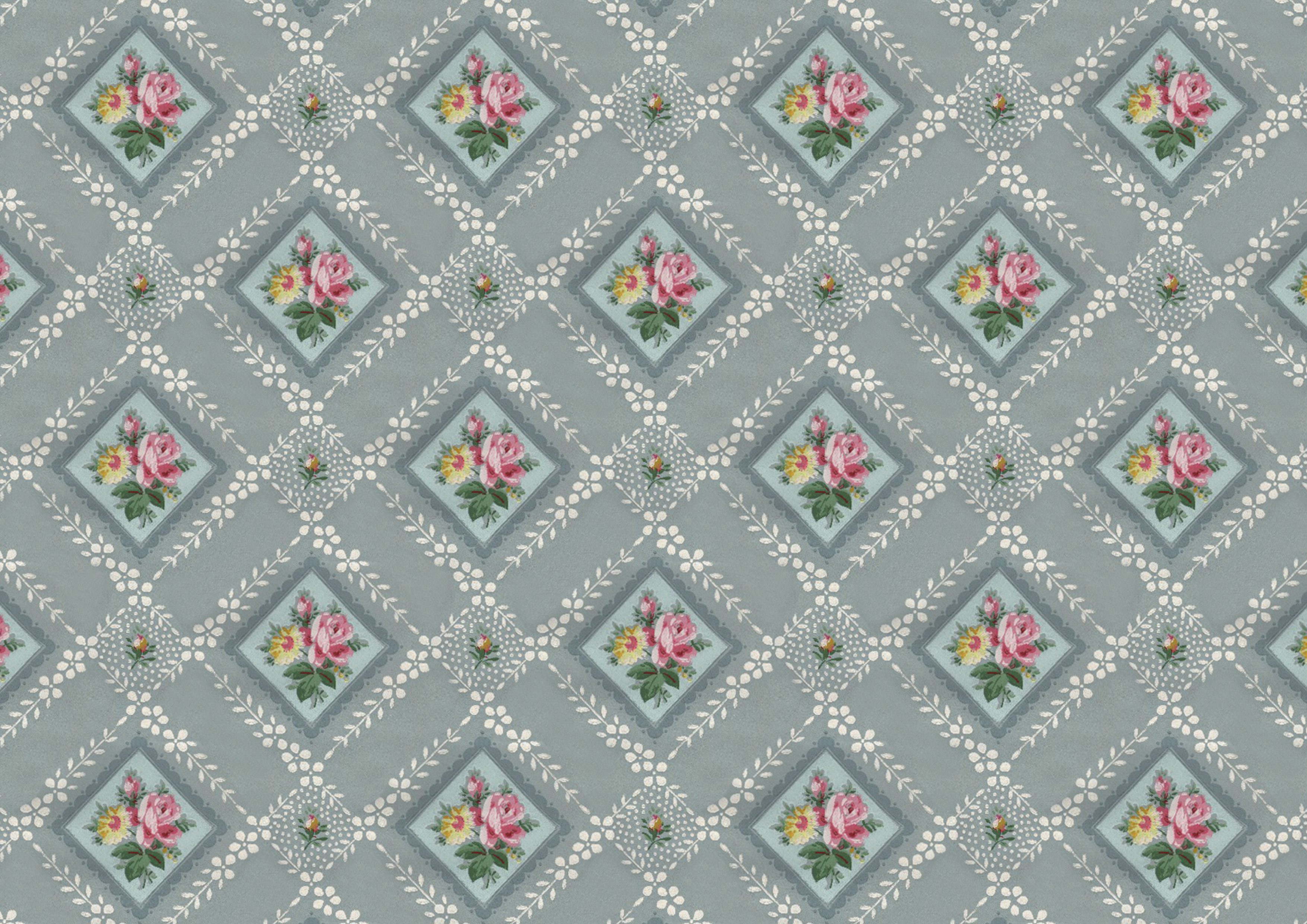 Vintage Floral Wallpaper Pattern And Printable Paper Wings Of Whimsy