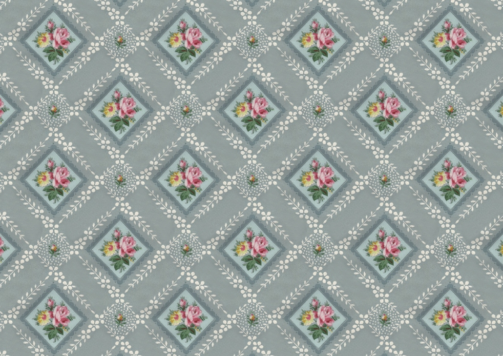 Wings of Whimsy: Vintage Blue Floral Wallpaper - free for personal use