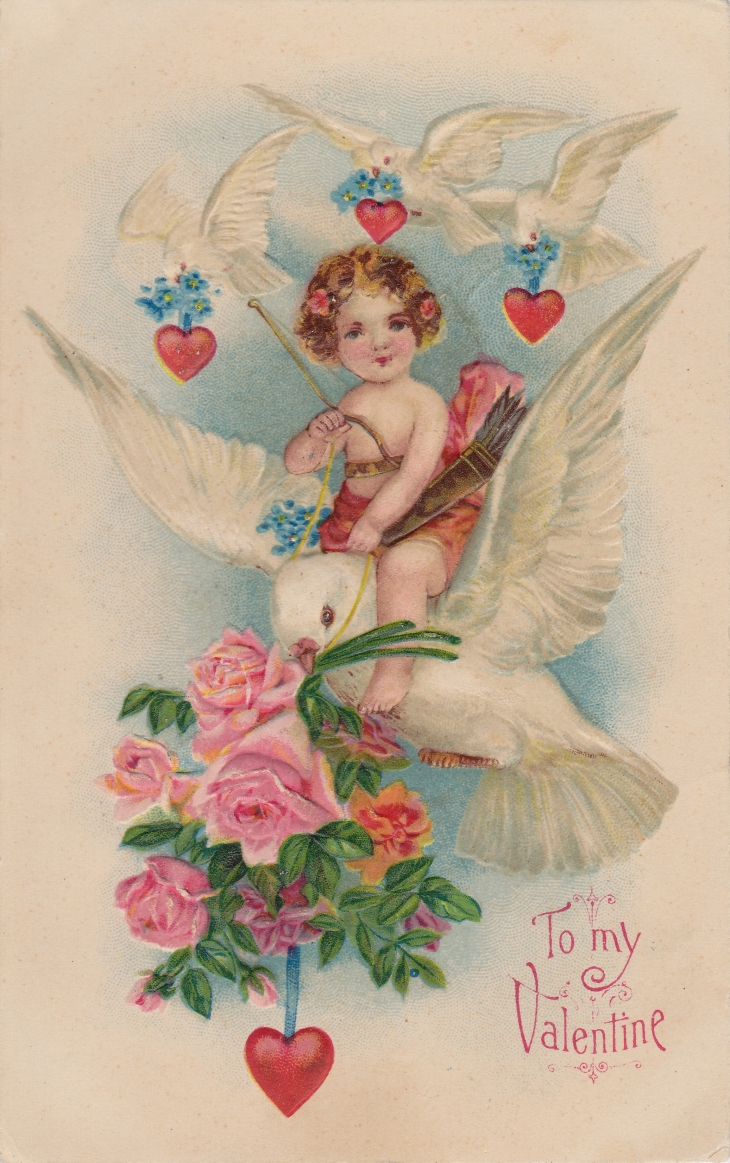 Wings of Whimsy: Cherub Riding A Dove, Roses & Hearts - free for personal use