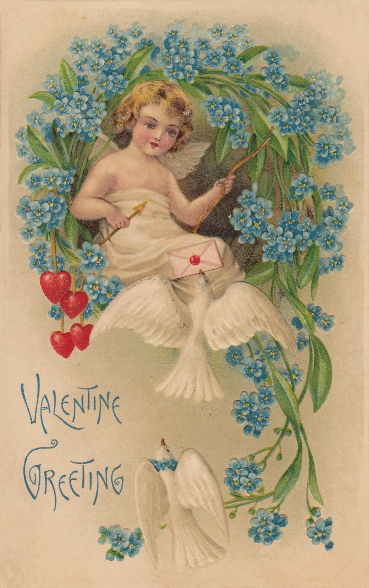Wings of Whimsy: Cherub Sending Letters With Doves, Forget-Me-Nots & Hearts - free for personal use