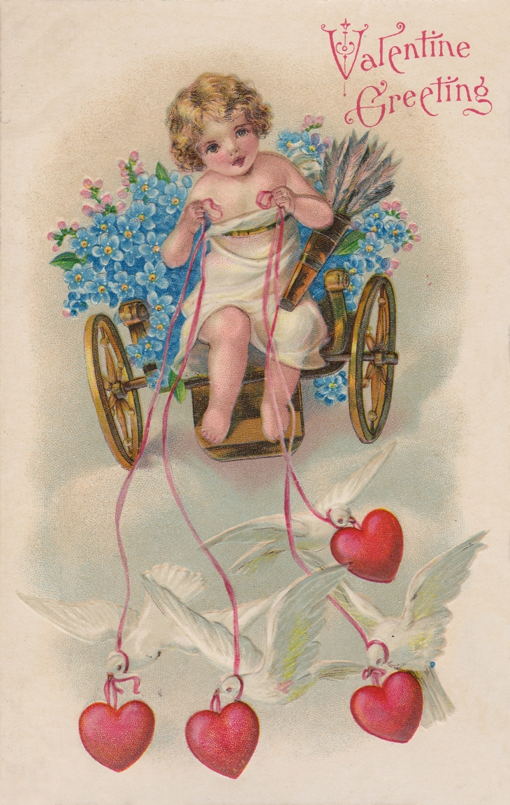 Wings of Whimsy: Cherub Chariot Pulled By Doves, Forget-Me-Nots & Hearts - free for personal use