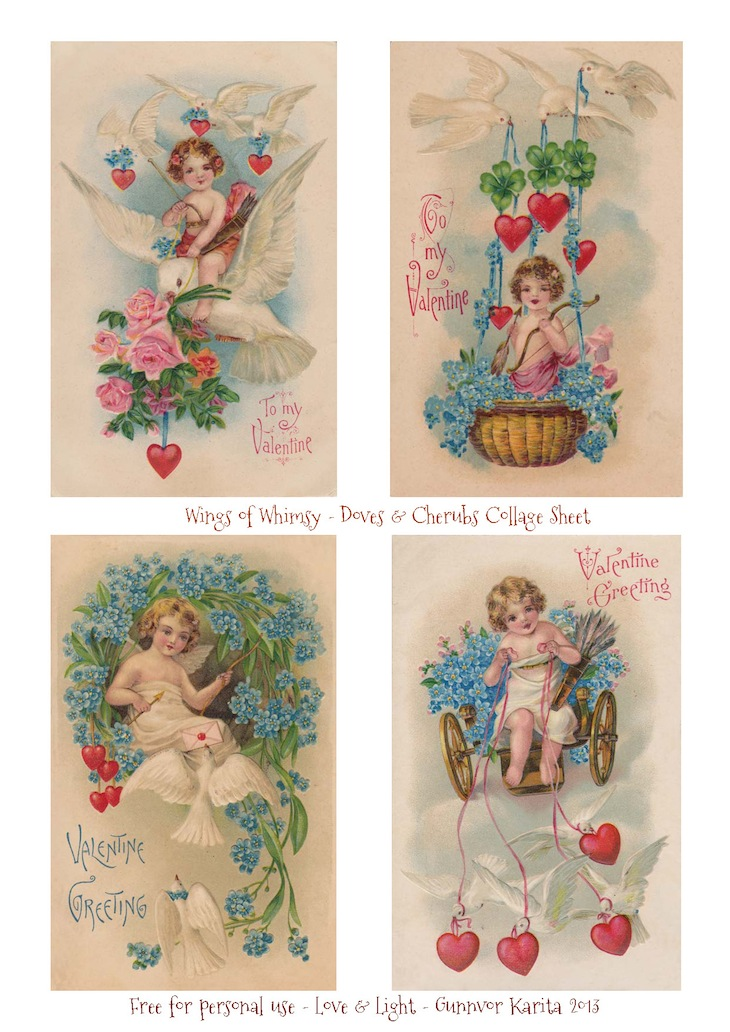 Wings of Whimsy: Free Printable Doves And Cherubs Collage Sheet - free for personal use