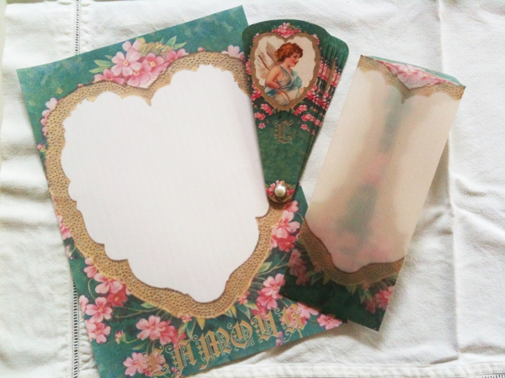Wings of Whimsy: French L'Amour Fan, Vellum Envelope and Sheet of Writing Paper