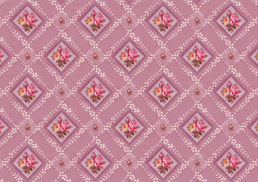 Wings of Whimsy: Vintage Pink Floral Wallpaper - free for personal use