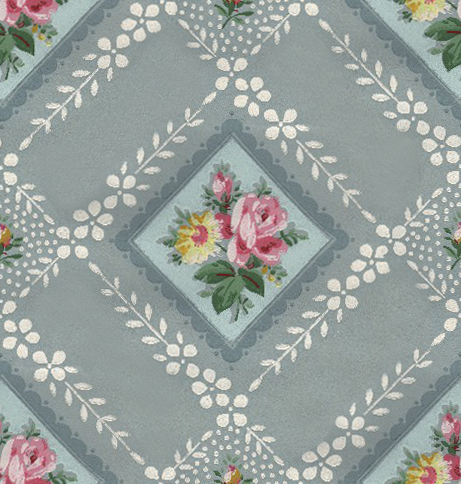 Wings of Whimsy: Vintage Blue Floral Wallpaper Tile - free for personal use