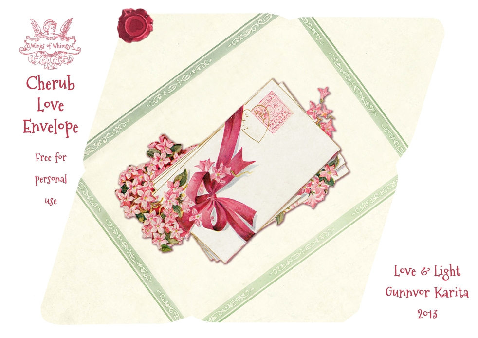 Wings of Whimsy: Cherub Green Frame Envelope - free for personal use