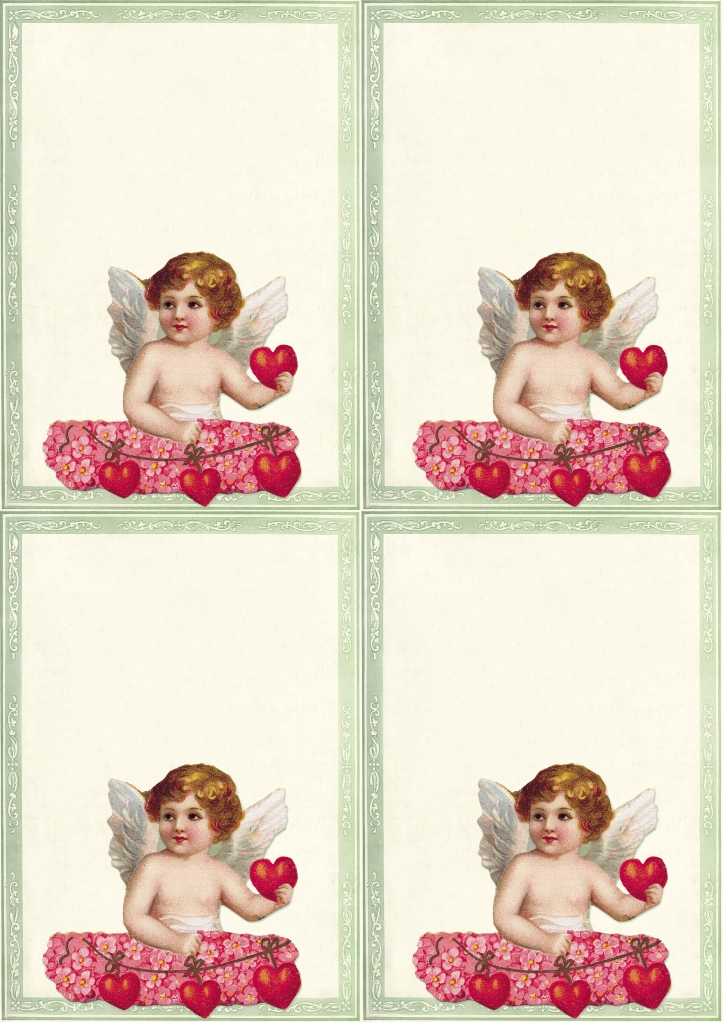 Wings of Whimsy: Cherub Green Frame Notecards - free for personal use