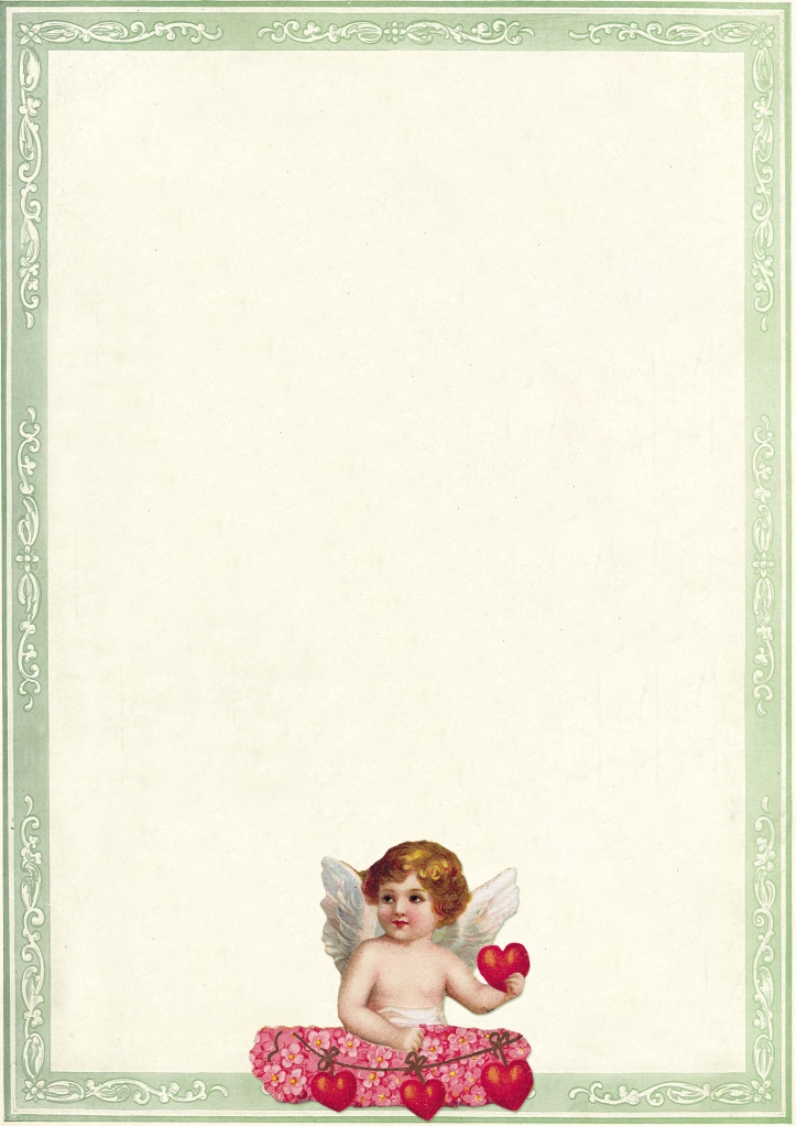 Wings of Whimsy: Cherub Green Frame Writing Paper - free for personal use