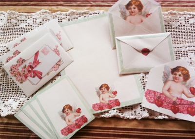 Wings of Whimsy: Cherub Love Letter Stationery - free for perosnal use #vintage #ephemera