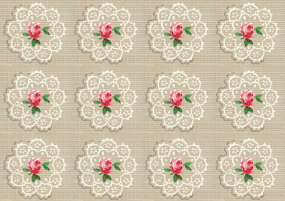 Wings of Whimsy: Vintage Wallpaper Roses and Doilies, large - free for personal use
