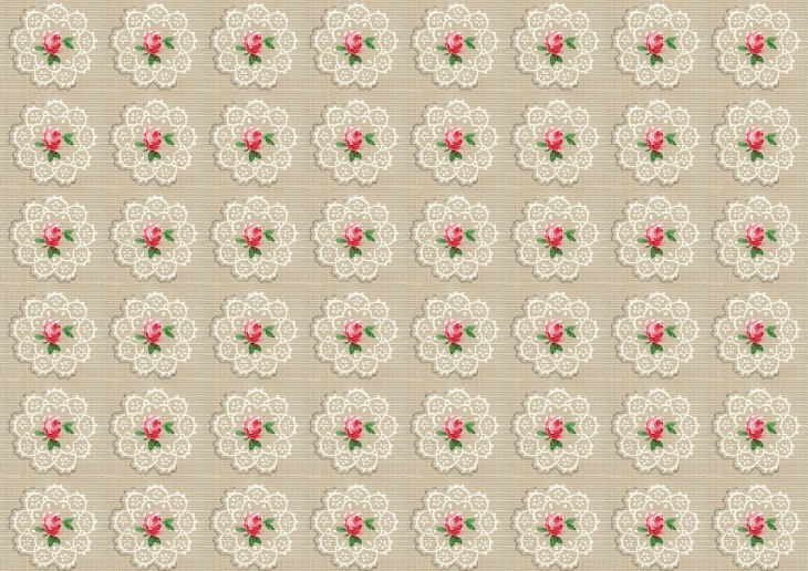 Wings of Whimsy: Vintage Wallpaper Roses and Doilies, small - free for personal use