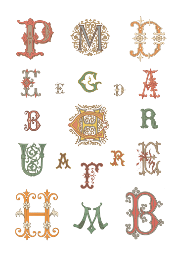 Wings of Whimsy: French 1882 Letters Original Colors PNG (transparent background) - free for personal use