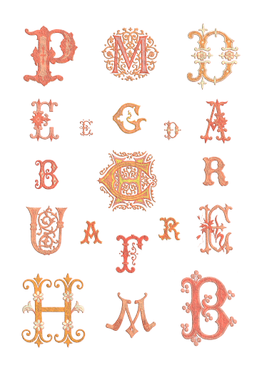 Wings of Whimsy: French 1882 Letters Summer Colors PNG (transparent background) - free for personal use