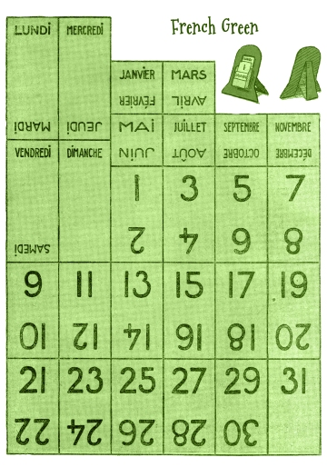Wings of Whimsy: Vintage Style Perpetual Calendar - French GREEN - free for personal use