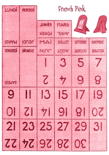 Wings of Whimsy: Vintage Style Perpetual Calendar - French PINK - free for personal use