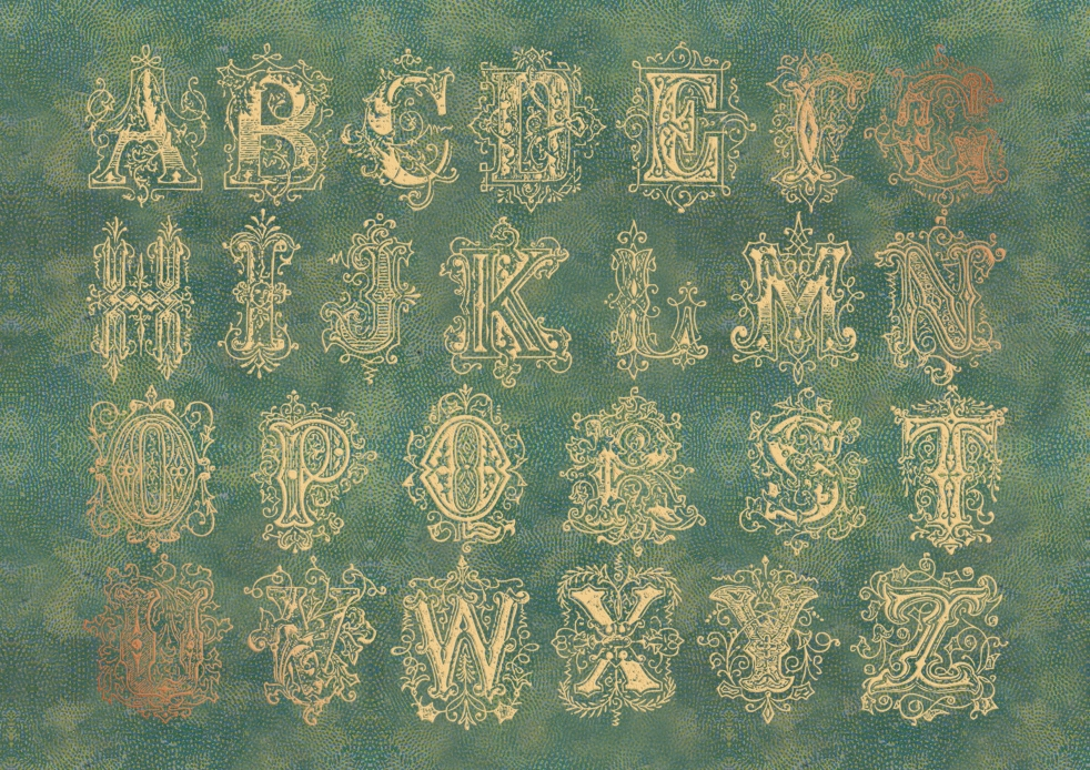 Wings of Whimsy: Gilded Alphabet Sheet - free for personal use