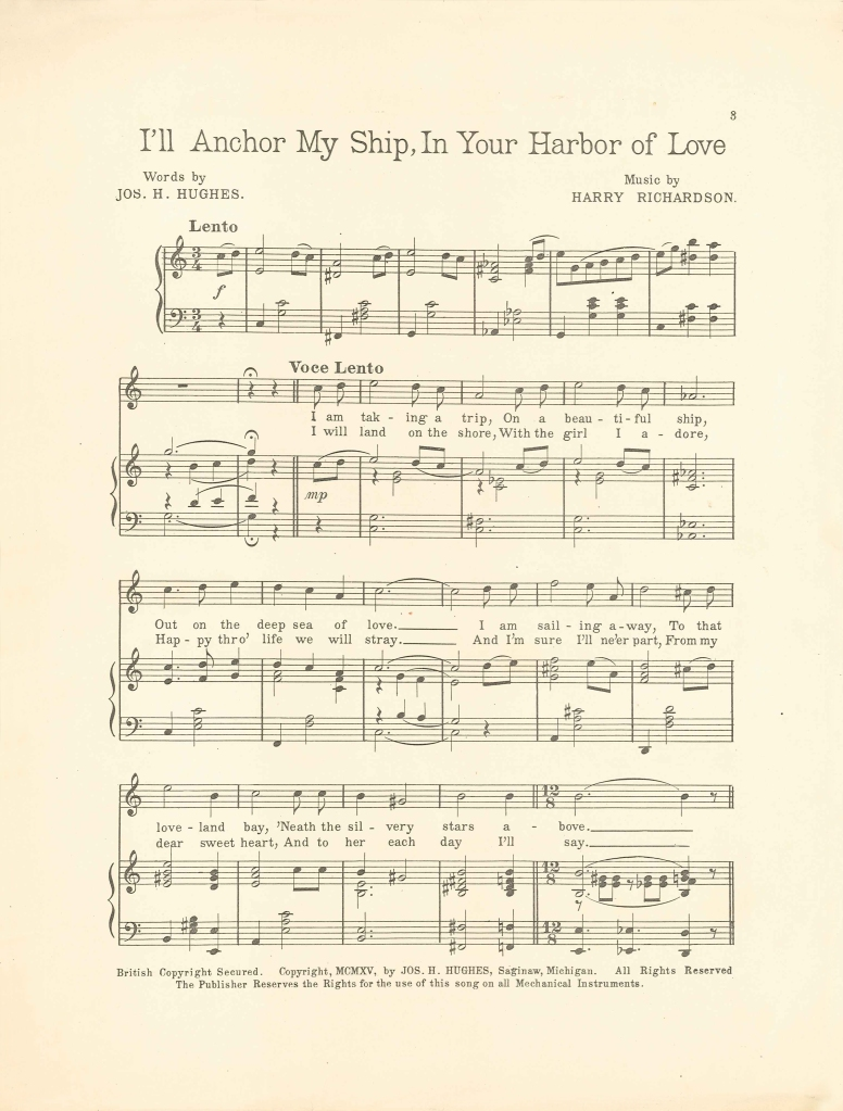 Wings of Whimsy: Harbor Of Love 1915 - Free Printable  Sheet Music - free for personal use