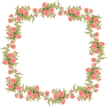 Wings of Whimsy: Peach Rose Frame - Catherine Klein - PNG (transparent background) - free for personal use
