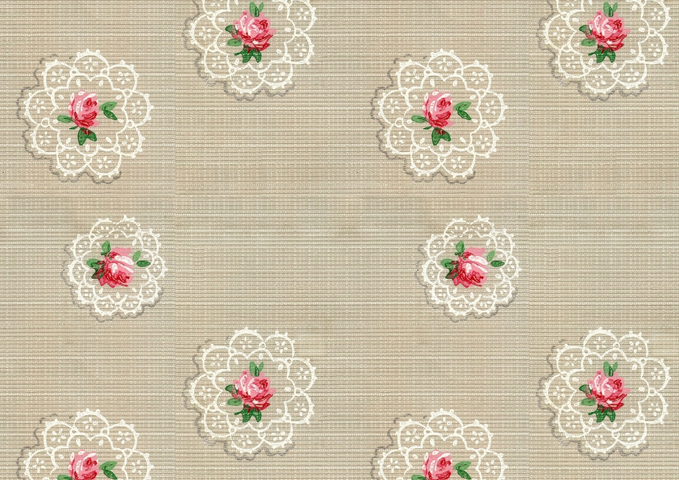 Wings of Whimsy: Vintage Wallpaper Roses and Doilies, random - free for personal use