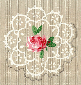 Wings of Whimsy: Seamless Tile Doily & Rose - free for personal use