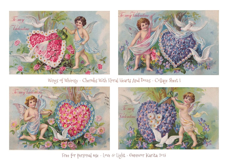 photo regarding Free Printable Collage Sheets named 1908 Cherubs With Floral Hearts And Doves Totally free Printable