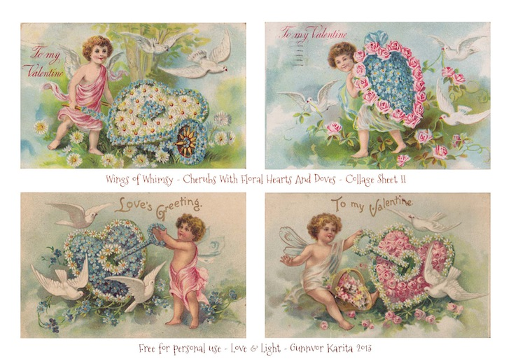 Wings of Whimsy: Cherubs With Floral Hearts And Doves - Printable Collage Sheet II - free for personal use