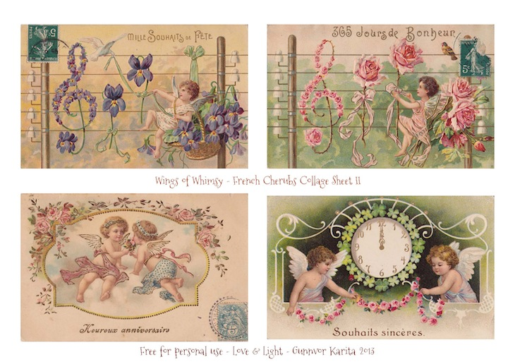 Wings of Whimsy: French Cherubs Collage Sheets - free for personal use