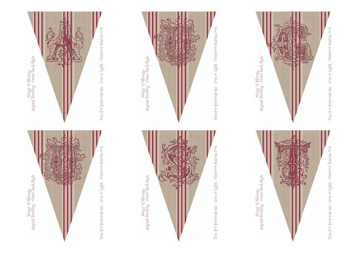 Wings of Whimsy: August Grain Sack Bunting - free for personal use