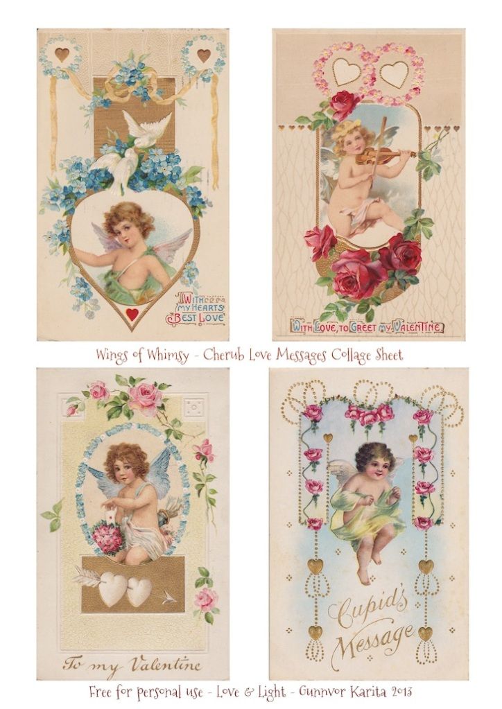Wings of Whimsy: Printable Cherub Love Messages Collage Sheet - free for personal use