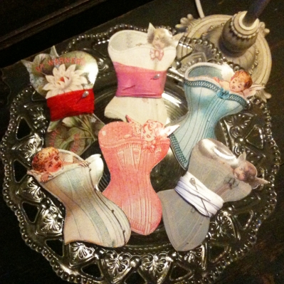Wings of Whimsy: Cherub Corset Ribbon Cards - free for personal use #vintage #ephemera