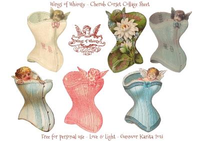 Wings of Whimsy: Cherub Corset Collage Sheet - free for personal use #vintage #ephemera #printable