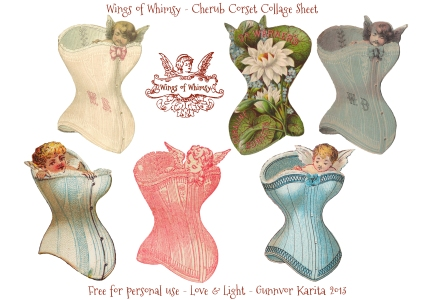 Wings of Whimsy: Cherub Corset Collage Sheet - free for personal use