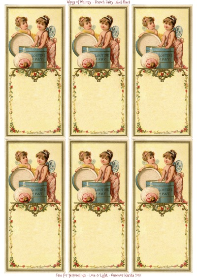 Wings of Whimsy: French Fairy Blank Label Sheet - free for personal use #vintage #ephemera #printable
