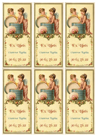 Wings of Whimsy: Customizable Ex Libris Bookplates - free for personal use #vintage #ephemera