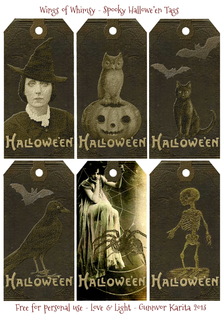 Wings of Whimsy: Spooky Hallowe'en Tags - free for personal use #vintage #victorian #printable #halloween