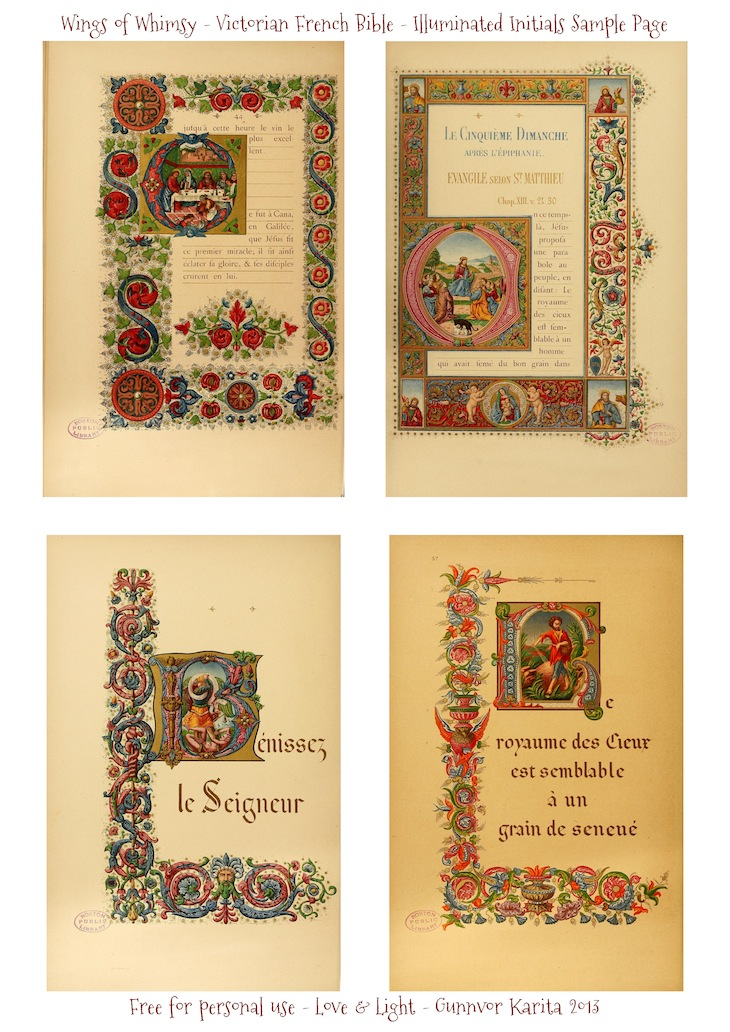 WIngs of Whimsy: Illuminated Victorian French Bible - Les Evangiles 1864 - Sample Page #vintage #victorian #ephemera #pintableilesIlluminatedInitials_WingsofWhimsy_Page_2