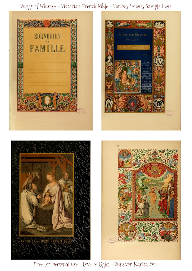 WIngs of Whimsy: Illuminated Victorian French Bible - Les Evangiles 1864 - Sample Page #vintage #victorian #ephemera #pintableEvangilesVariousPages_WingsofWhimsydes_Page_1
