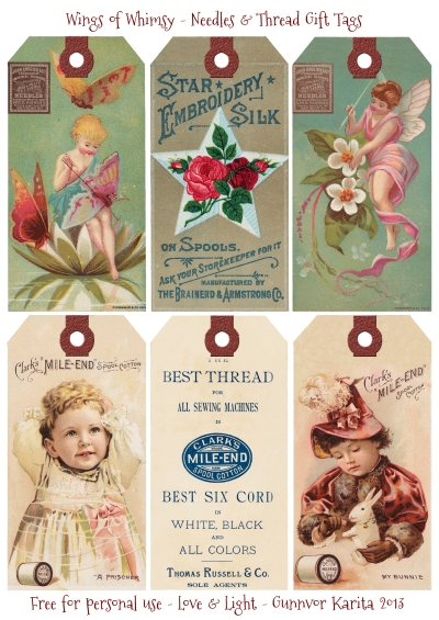 Wings of Whimsy: Needles & Thread Gift Tags - free for personal use #vintage #victorian #trade #card #sewing