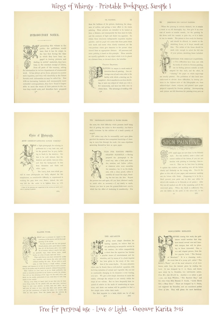 Wings of Whimsy: Art Recreations 1871 - 50 Printable Bookpages for Creative Crafters - Sample I - free for personal use #vintage #victorian #ephemera