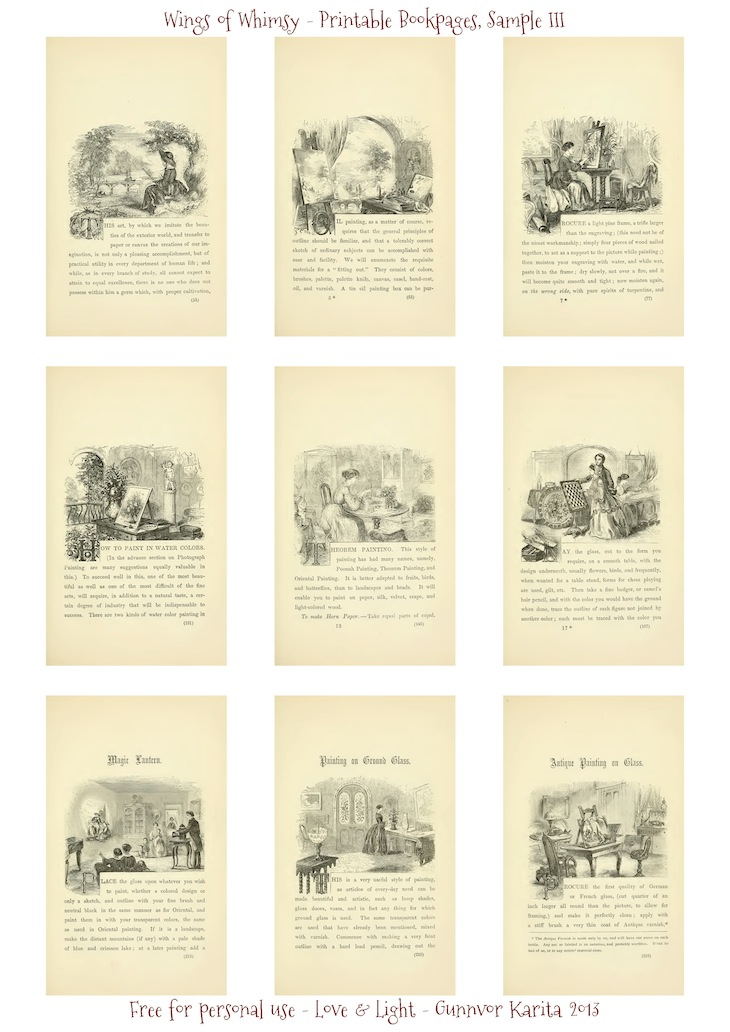 Wings of Whimsy: Art Recreations 1871 - 50 Printable Bookpages for Creative Crafters - Sample III - free for personal use #vintage #victorian #ephemera