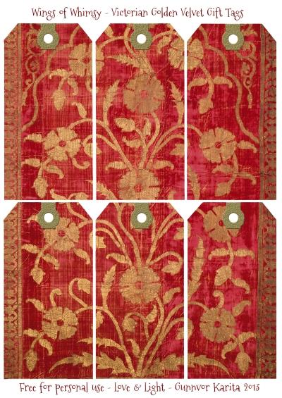 Wings of Whimsy: Victorian Golden Velvet Gift Tags #vintage #ephemera #printable