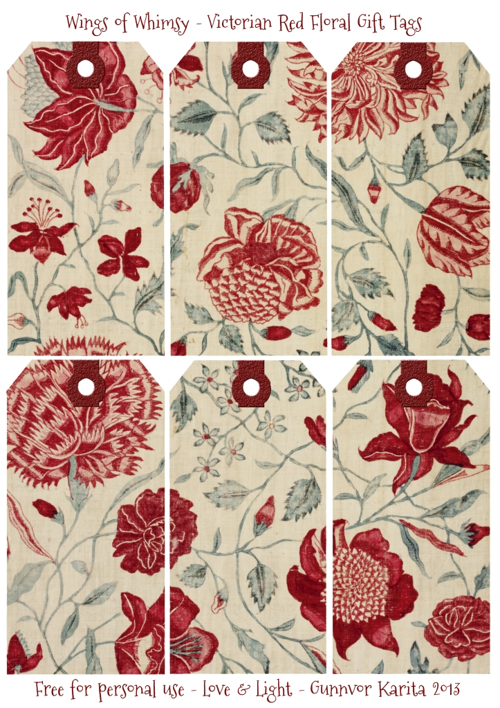 ... Red Floral Gift Tags - free for personal use #vintage #victorian #tags