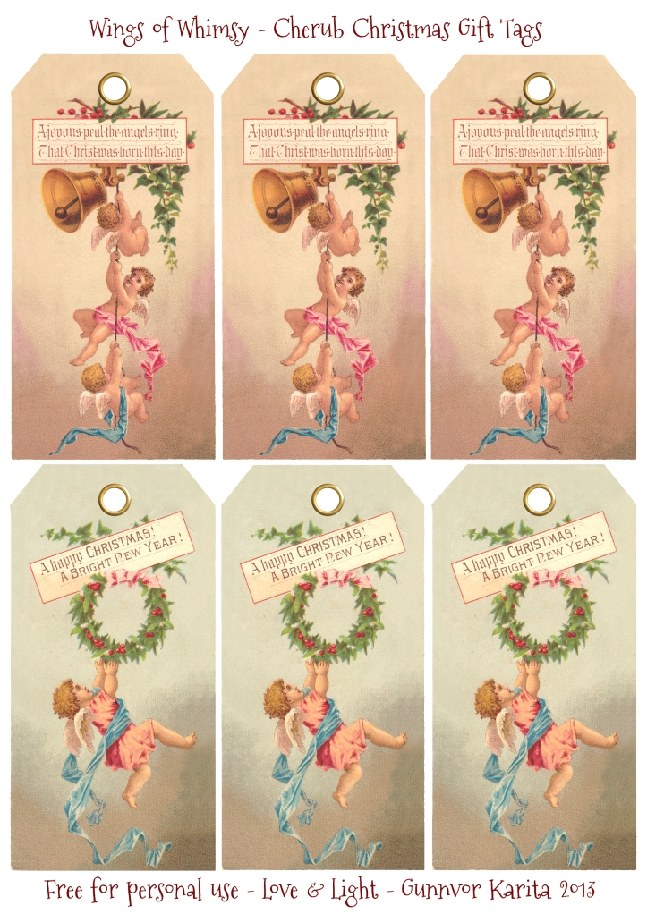 Wings of Whimsy: Cherub Christmas Tags -  free for personal use #victorian #vintage #ephemera #printable