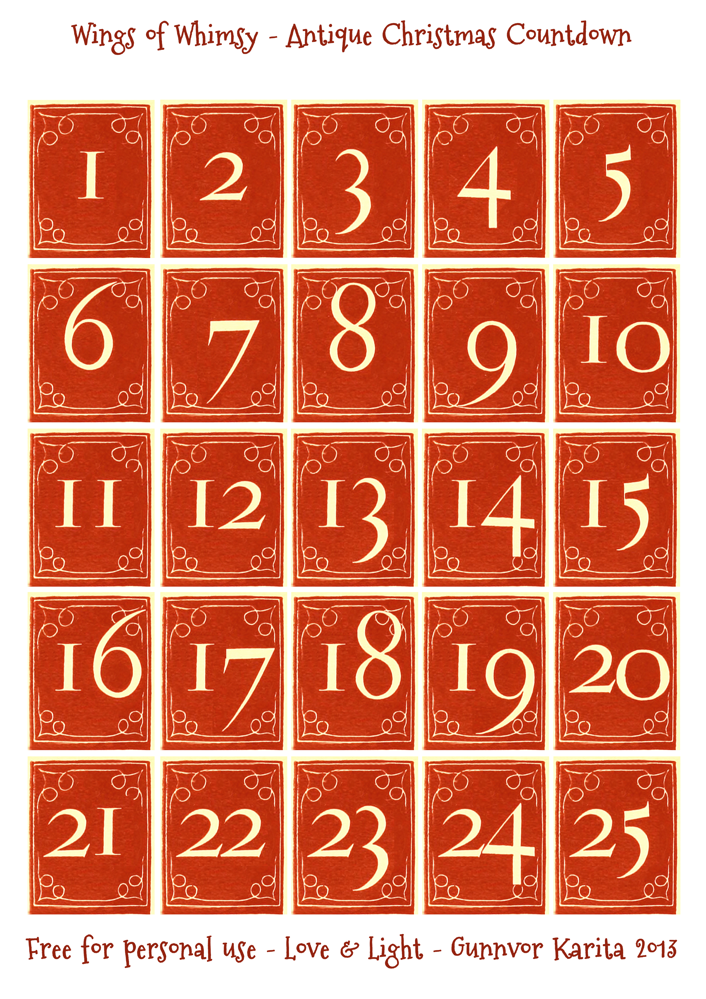 Christmas Countdown Numbers Printable | New Calendar Template Site