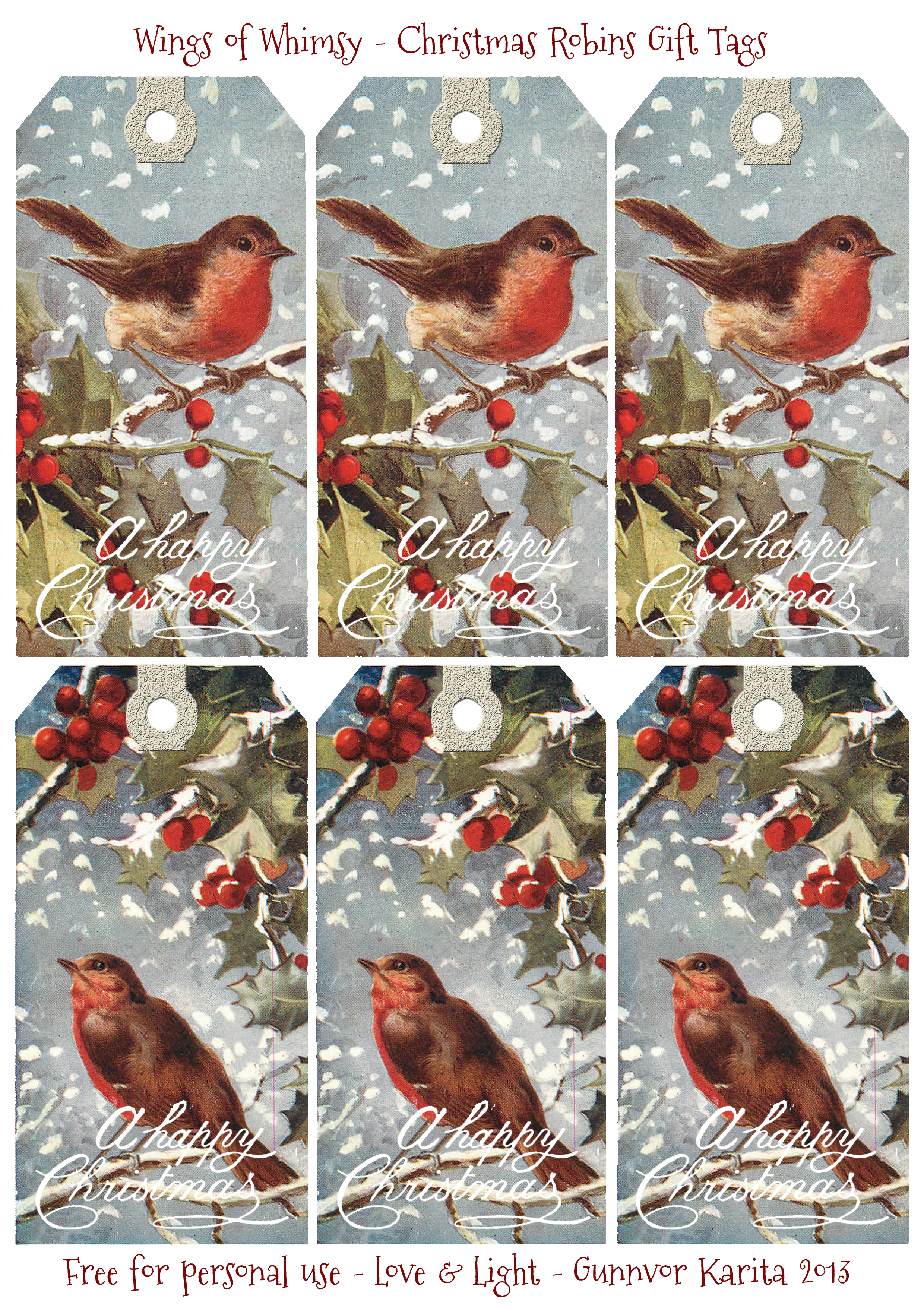 1908 christmas robins free printable gift tags wings of whimsy the quality of the print files is very high i printed the individual tags as large as possible on a4 sized paper and the images still looks fabulous negle Image collections