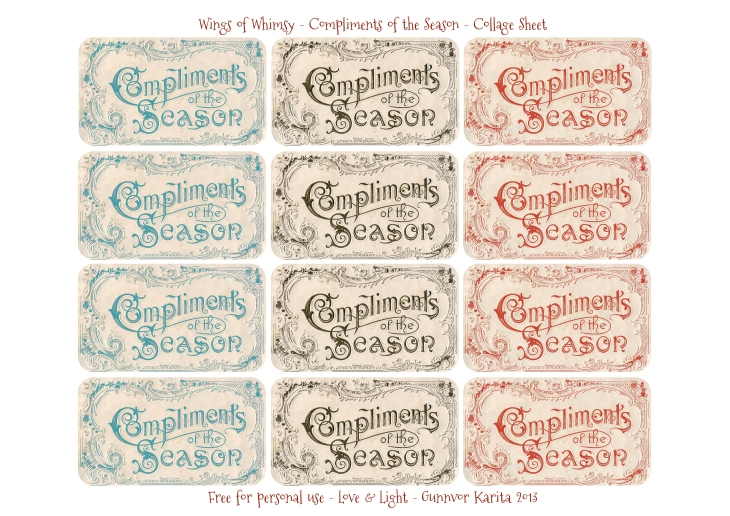 Wings of Whimsy: Compliments of the Season Sheet - free for personal use #vintage #ephemera #christmas #printable
