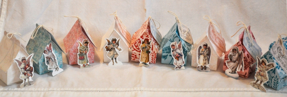 Wings of Whimsy: Vintage Christmas Village - DAY 1 - free printables #vintage #victorian #ephemera #cottage #cherub #tree