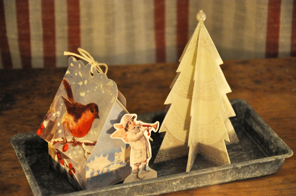 Wings of Whimsy: Vintage Christmas Village - DAY 23 - free printables #vintage #victorian #ephemera #cottage #cherub #tree