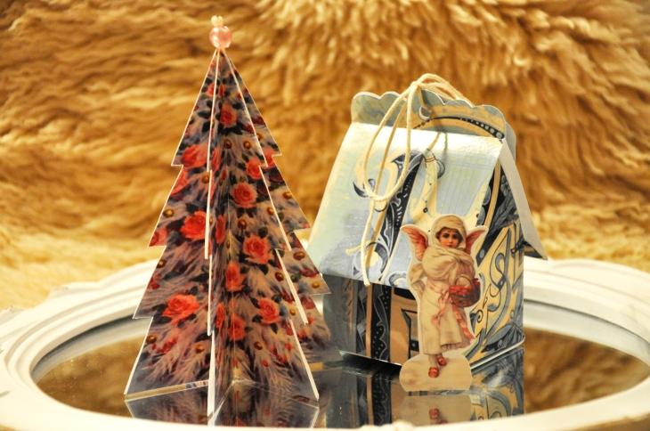 Wings of Whimsy: Vintage Christmas Village - DAY 22 - free printables #vintage #victorian #ephemera #cottage #cherub #tree